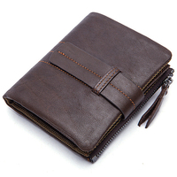 New Design Classical Mens Wallets Cowhide Genuine Leather Vertical Hasp Short Business Casual ID Crad Holder