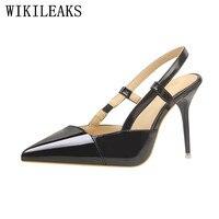 Pointed toe summer giày phụ nữ bằng sáng chế leather sexy cao gót dép phụ nữ sandalias de salto alto cao gót bơm phụ nữ giày