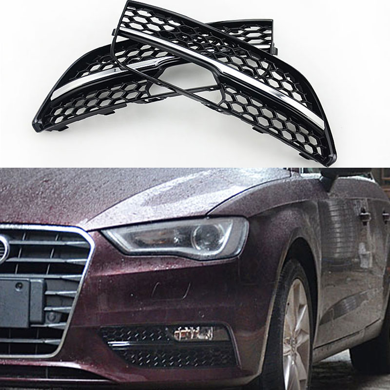 ABS RS3 Style Fog lamp Grill Covers trim For Audi A3 Standard SPORTBACK bumper 2014~2015 high quality abs chrome 2pcs up grill trim lower grill trim grill decoration trim grill streamer for honda city 2015 216