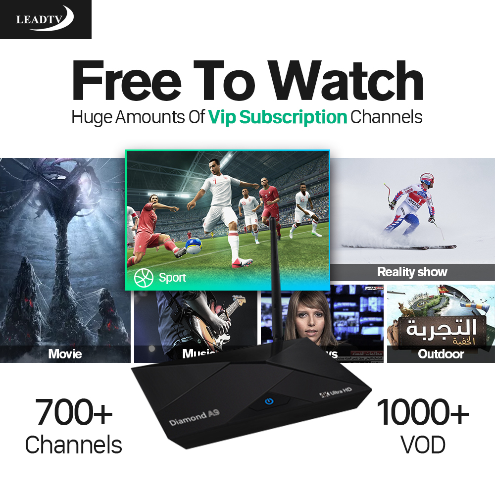 A9 IPTV STB Smart Android TV Box 2G+16G Media Player with HD 700+ Live iptv Europe arabic Channels subscription 1 year French UK цена 2016