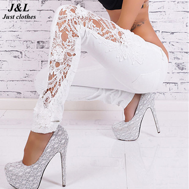 J&L New Sexy Hollow Out Lace Jeans Patchwork White Pencil Pants Floral Appliques Trousers Full Length Plus Size Jeans For Women