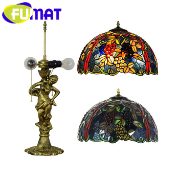 Stained Glass Table Lamps | FUMAT Tiffany European Barock Style Table Lamps Stained Glass Desk Lamp Alloy Grape Blue Leaf Goddess LED Luxury Table Lights