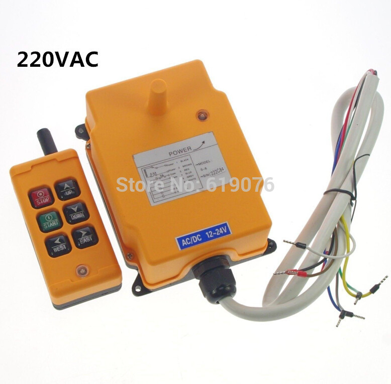 220VAC 1 Speed 6 Channels Control Hoist Crane Remote Control System