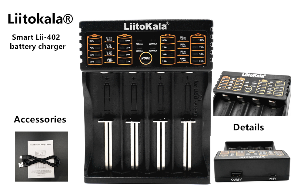 LiitoKala Lii 402 18650 Rechargeable Battery Charger lii402 for 1 2V 3 7V AA AAA 18650