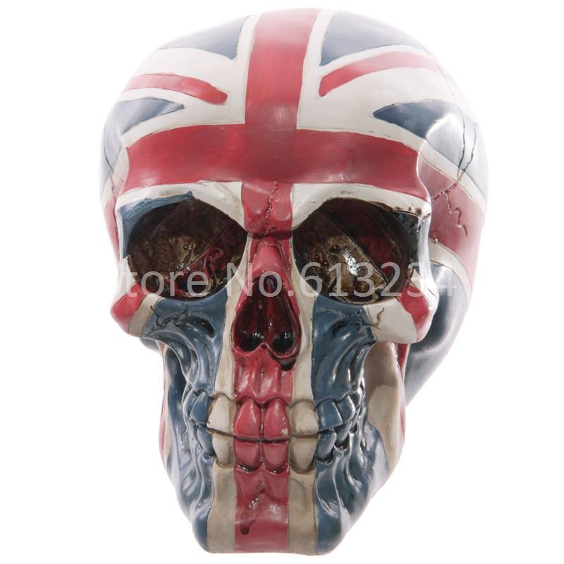 Free Shipping 1piece Lifelike Union Jack Skull Head Hand Painted Union Flag Skull Home Decor For