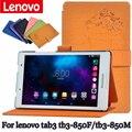 Ímã estojo de couro suporte para lenovo tab3 tb3-850 tb3-850f/tb3-850m 8 polegada caso clamshell para tablet pu de proteção shell + presente
