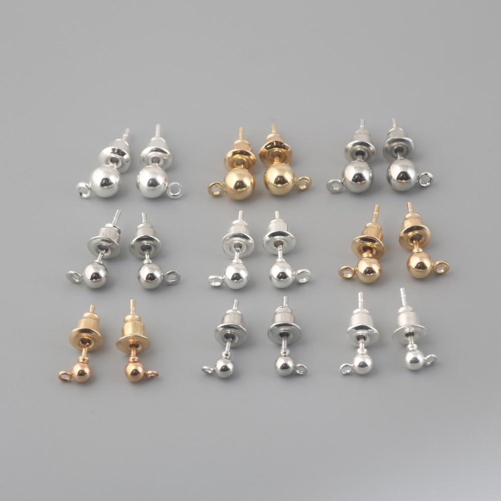 Серьги-гвоздики с родиевым покрытием, золотистые/Серебристые заглушки 3/4/5 мм, пустая основа для сережек «сделай сам», аксессуары для изгото...