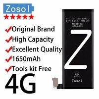 Zosol-Orijinal Marka Hakiki Yüksek Kapasiteli 1650 mAh AAAAA Kaliteli Pil ile iPhone 4G için 3.7 V Onarım araçları Kiti