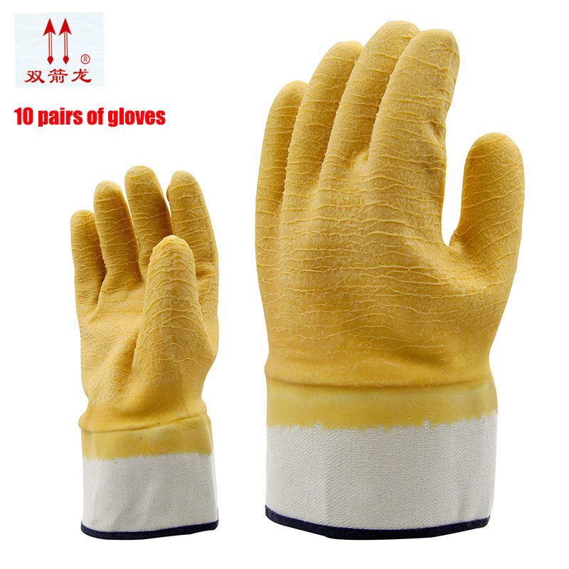 The new 2017 rubber gloves latex wrinkles antiskid safety glove canvas work hard mouth yellow gloves10 double/package mool 300pcs nail art latex rubber finger cots protector gloves white