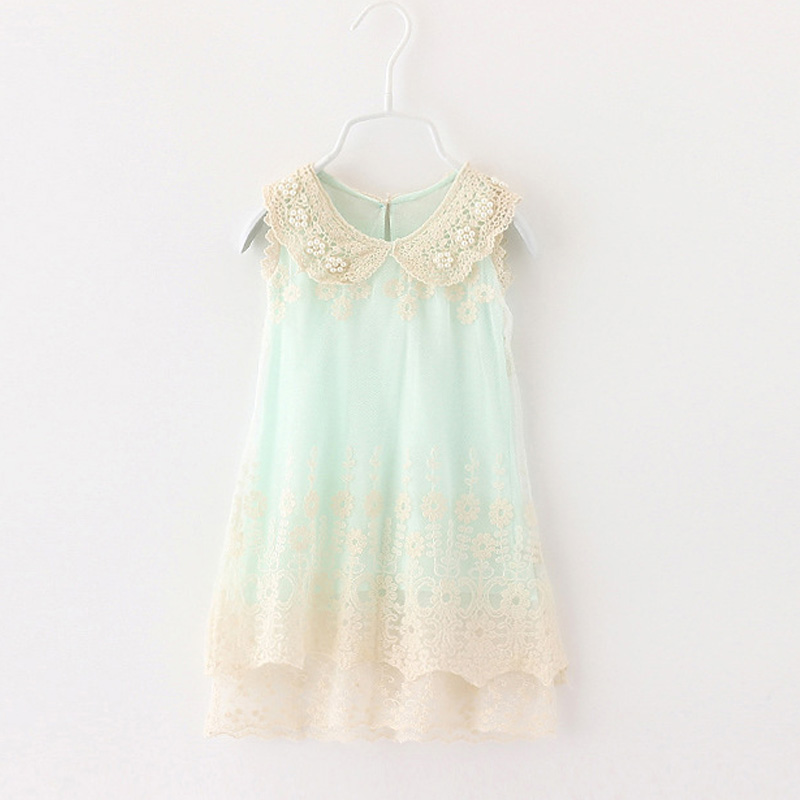 Girls Retro lace Dress 2017 Summer Girl Fashion Lace sleeveless Tulle Party Wedding Dresses Kids pearl Dress For toddler,2-6Y ems dhl free shipping toddler little girl s 2017 princess ruffles layers sleeveless lace dress summer style suspender