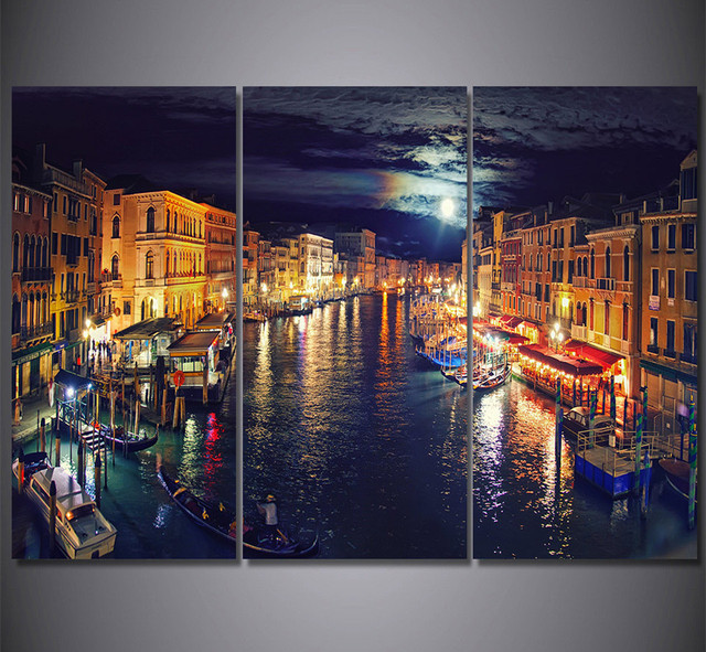 3piece canvas painting picture prints italy venice canal poster hd