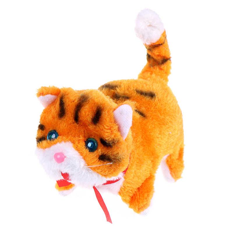 전자 애완 동물 전기 고양이 산책 짖는 소리 뮤지컬 대화 형 로봇 고양이 새해 크리스마스 완구 어린이 선물