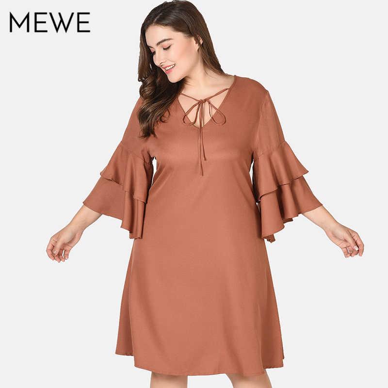 2018 Women Summer Dress Casual Woman Retro Plus Size 7xl Midi Dress Tied  V-neck 5e649a161384