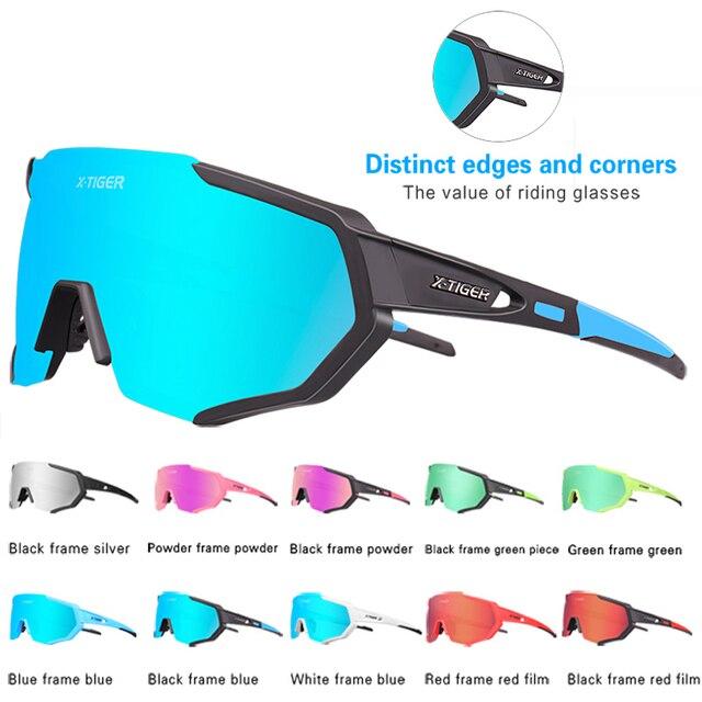 Óculos 5 lentes polarizadas para ciclismo, armação para miopia, óculos de sol para andar de bicicleta e esportes ao ar livre, unissex, X-TIGER 3