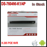 Free Shipping Hikvision 4CH NVR POE English Version DS 7604NI K1 4P Embedded Plug Play 4K