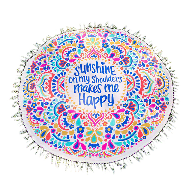Round Beach Towel Tassel Decor Mandala Blanket Thin Cotton Flower Printed Summer Women Sunscreen Shawl cover up Mat