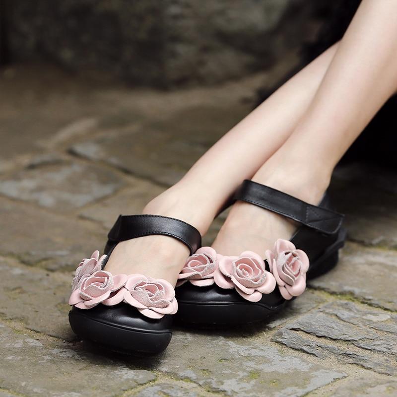 Femme D'été Actmdall 2019 Famale Pour Chaussures Noir Sandales Véritable Cuir Fleurs Main Slingback En Femmes 5O5rnx
