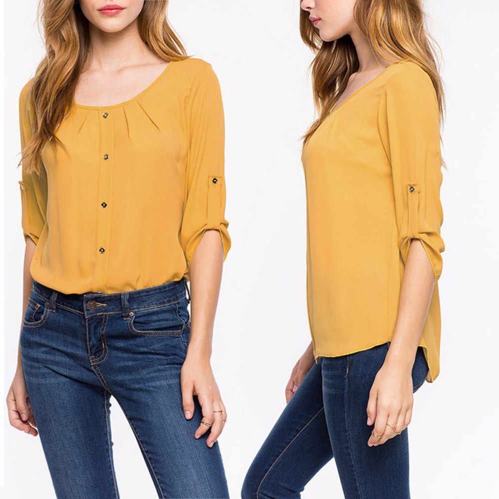 Fashion Women Lady Loose Long Sleeve Chiffon Casual  Round neck solid color Shirt Tops ropa mujer