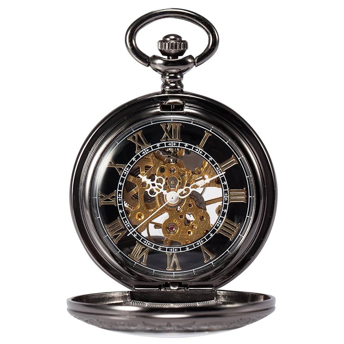 man black Steampunk skeleton copper Pocket watch