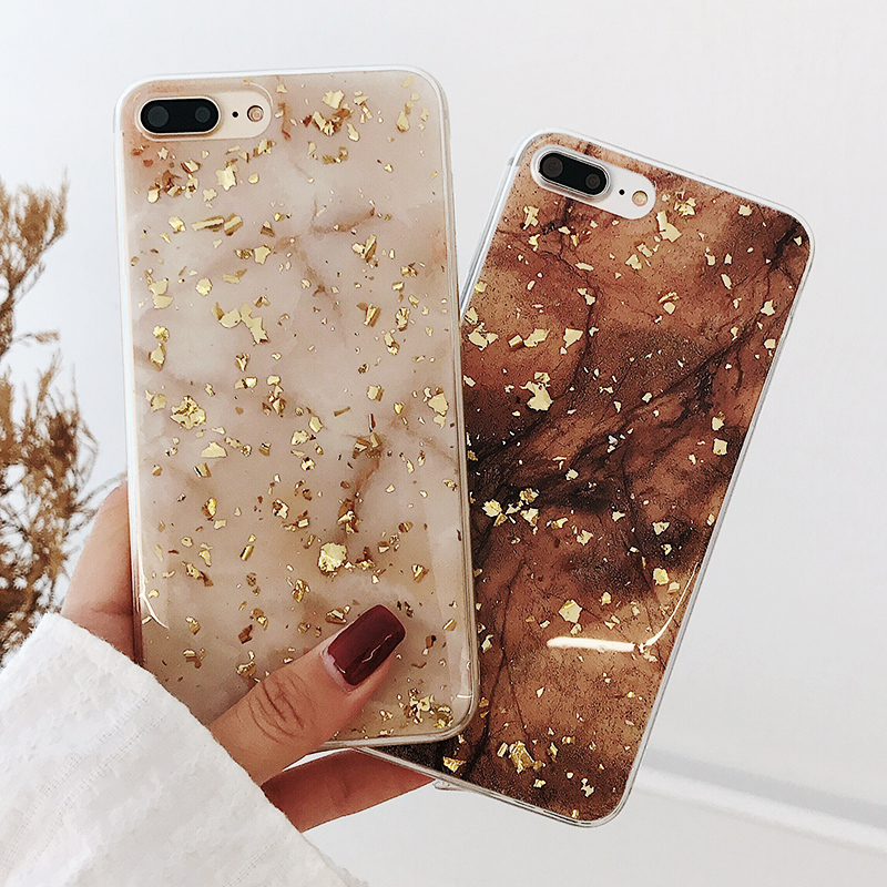 new arrival 32cb0 1acbe US $2.46 38% OFF|Luxury Gold Foil Bling Marble Phone Cases For iPhone X 10  Soft TPU Back Cover For iPhone 7 7Plus 8 6 6S Plus Glitter Case Coque-in ...