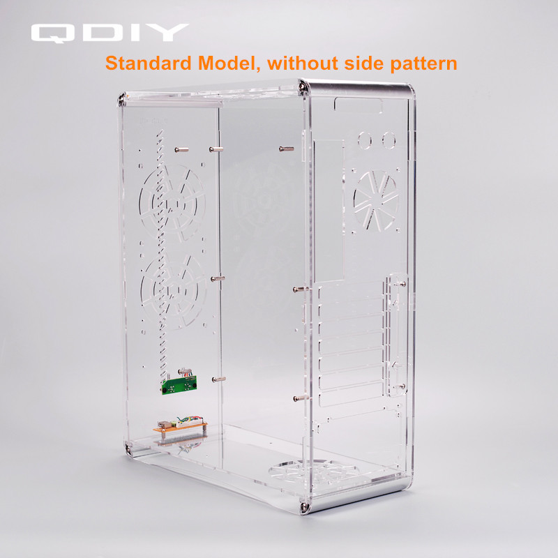 QDIY PC-A006S  ATX Transparent Computer Case PC Case Water Cooling Game Player Acrylic Computer Case 1