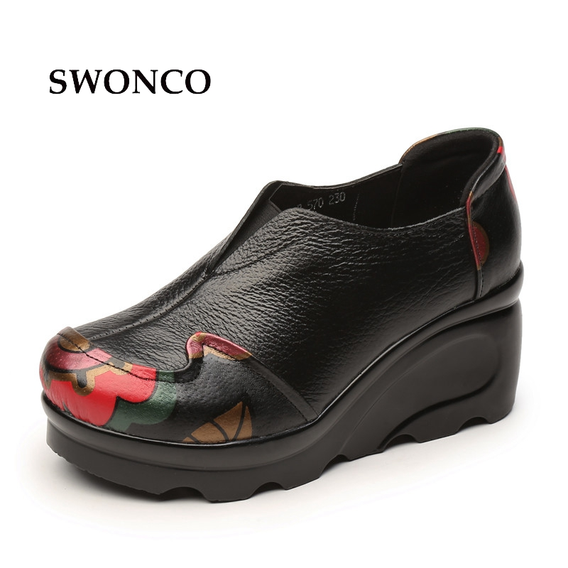 SWONCO Women Casual Shoes Platform Wedge Sneakers Casual Shoes Women 2018 Spring Autumn Low Cut Female Genuine Leather aiyuqi 2018 new spring genuine leather female comfortable shoes bow commuter casual low heeled mother shoes woeme