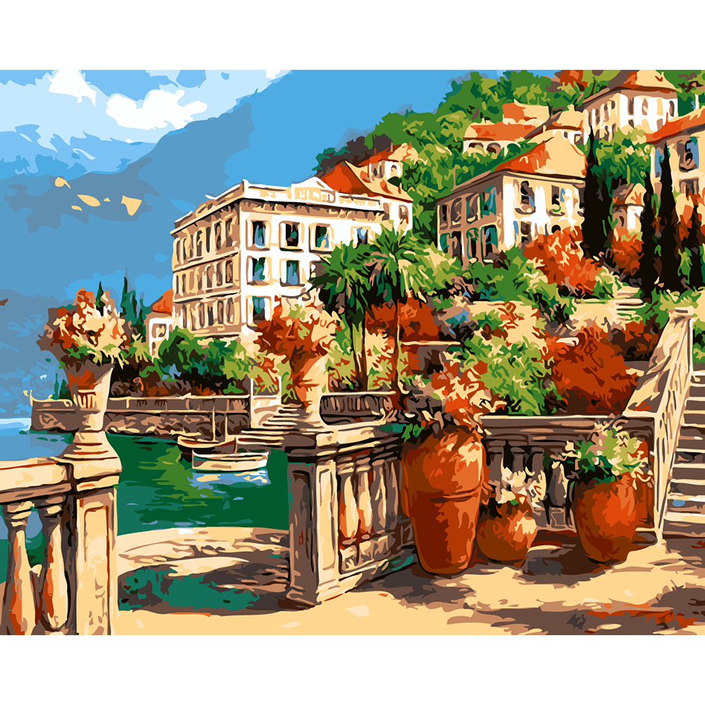 Diy garden wall art - 40x50cm Frameless Europe Garden Lake Landscape Diy Oil Painting By Numbers Kits Pictures Coloring Wall Arts Home Decor