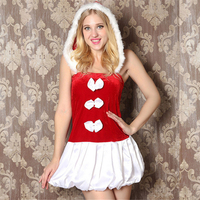 Sexy Chrismas Dress Costumes Mini Skirt Lingerie Hot White Bow Lace Sexy Babydoll Pleated Skirt Sexy
