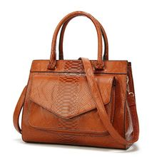 Vintage Snake Pattern PU Leather Top Handbags Tote Should Bag with Front Pocket for Women