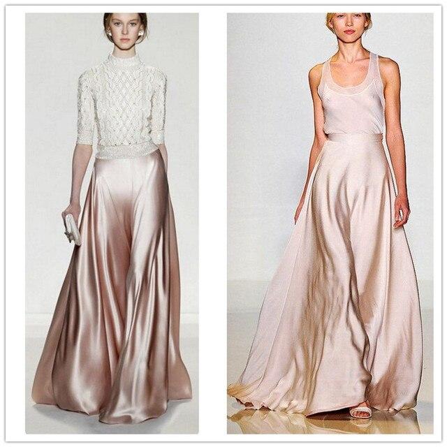 Autumn Maxi Skirts Pants Womens High Waist Solid Plus Size XXS - 7XL 2016 Woman Long Satin Wide Leg Pant Skirt Vintage