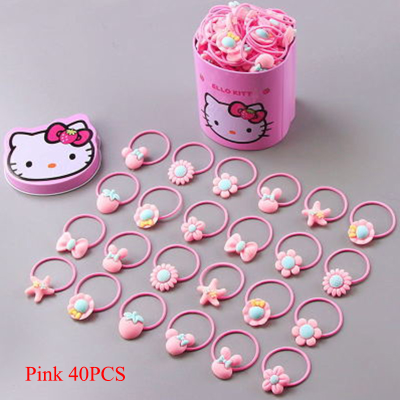 40PCS/Lot Cute Flower Bow Cartoon Girls Pink Elastic Hair Bands Children Gift Headbands Ponytail Holder Hair Accessories Tie Gum 4pcs ponytail creator plastic diy hair styling tools black hair bands for girls hair braid accessories bun maker girls headbands