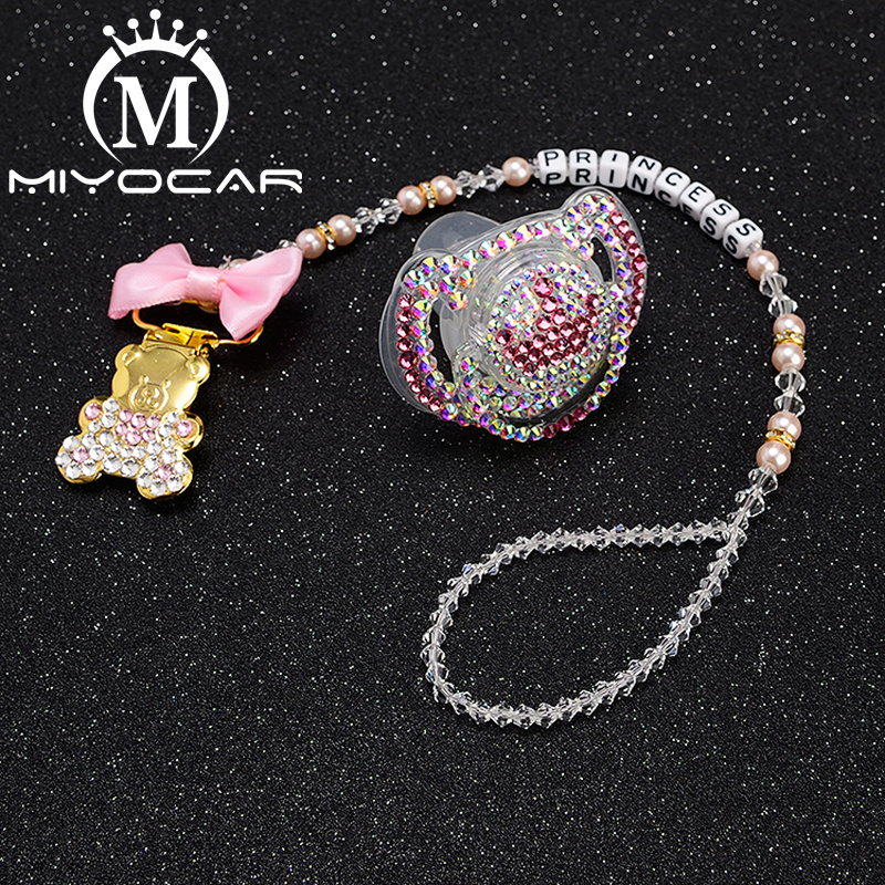 MIYOCAR Personalized Name Bling Heart Pacifier Clip Unique Pacifier Holder  With Bling Pacifier Set Unique Gift SP009