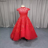 2018 Red Cap Sleeve Evening prom Dress 2018 Bling long prom dress backless evening party dress In Stock Arabic