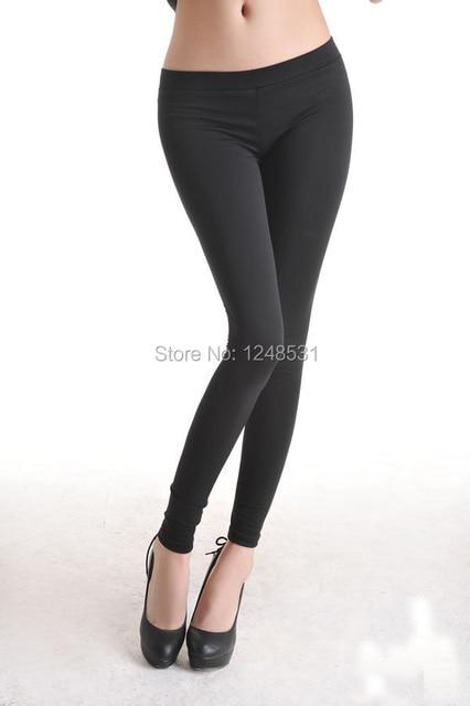 Черные леггинсы с низкой талией брюки тонкий микрофибры леггинсы