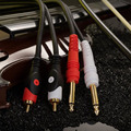 JSJ Pro audio Instrument Cable 2 * 6.35 Mono Male to 2 RCA Male Audio Cable for Mixer Amplifier Free Shipping
