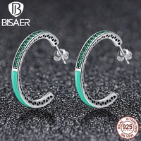 Real 100 925 Sterling Silver Green Radiant Hearts Ring With Enamel Clear CZ Original Authentic Jewelry