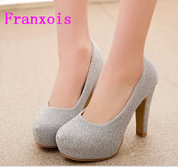 2016 New Summer Rough Heel High Heeled Round Shallow Mouth Low To Help Women Shoe