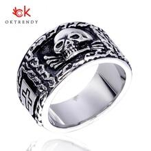 лучшая цена Oktrendy Titanium Steel Big Punk Biker Skull Ring For Man Rock Punk Men Cool Jewelry Vintage  Jewelry Motorcycle Ring