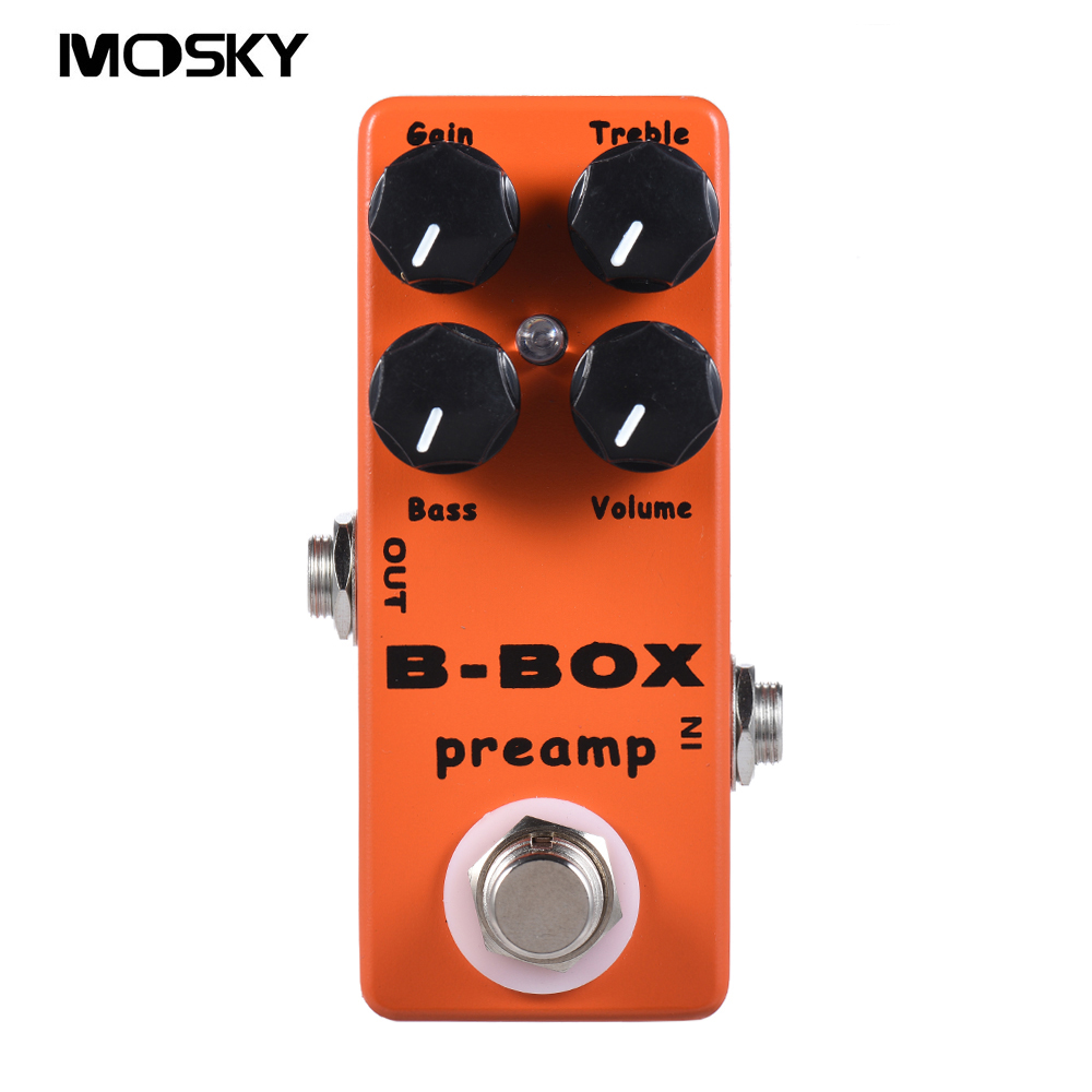 Mosky B-Box Electric Guitar Preamp Overdrive Effect Pedal with 4 Functional Knobs (Gain/Volume/Bass/Treble) and True Bypass diy overdrive guitar effect pedal kit true bypass with 1590b box for electric guitar stompbox pedals od1 kits