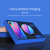 For Apple iphone X Tempered Glass Case +3 in 1 Cable +Fast Wireless Charger NILLKIN Fancy Wireless charging Gift Set