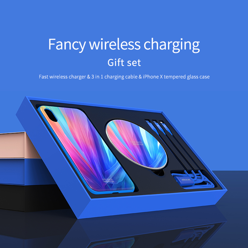 For Apple iphone X Tempered Glass Case +3 in 1 Cable +Fast Wireless Charger NILLKIN Fancy Wireless charging Gift SetFor Apple iphone X Tempered Glass Case +3 in 1 Cable +Fast Wireless Charger NILLKIN Fancy Wireless charging Gift Set