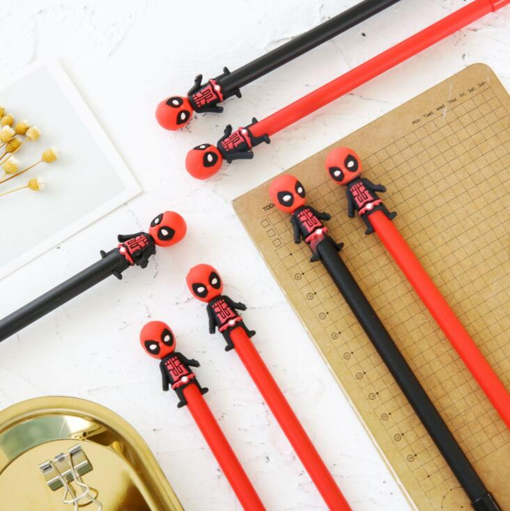 2 pcs/lot Deadpool Gel Pen Signature Pen Escolar Papelaria School Office Supply Promotional Gift 1 pcs novelty cute my neighbor totoro gel ink pens signature pen escolar papelaria office school supply promotional student gift