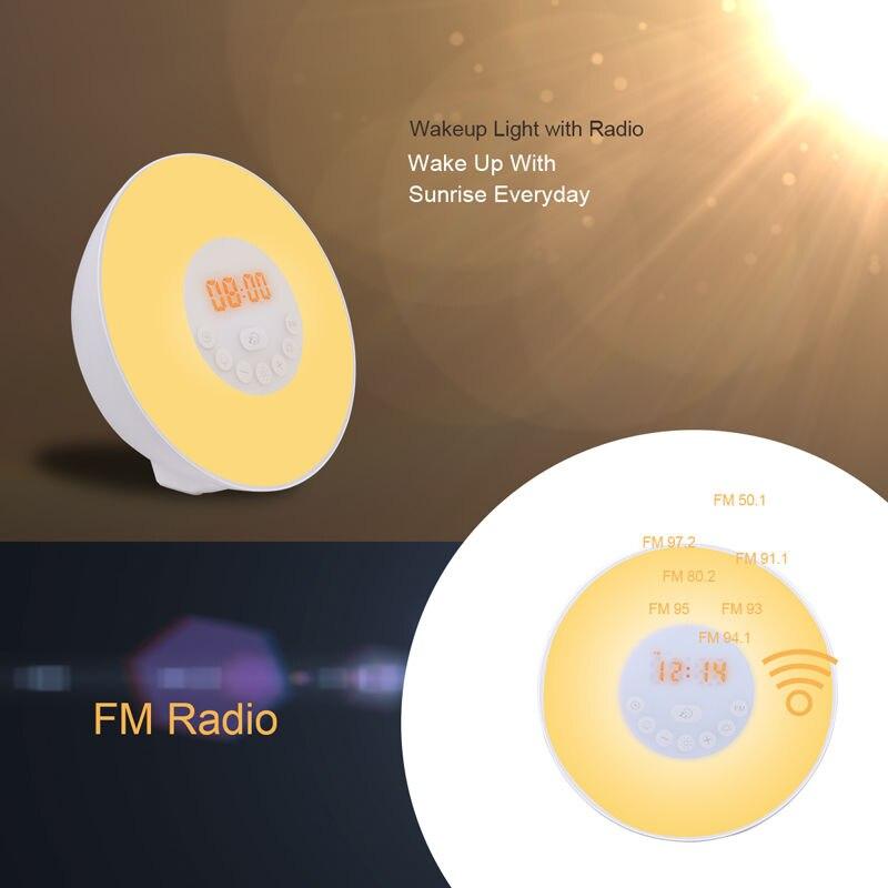 Nascer do sol/Pôr Do Sol Luzes LED com Wake Up Rádio FM Luz Colorida Despertador Digital Com Função Snooze