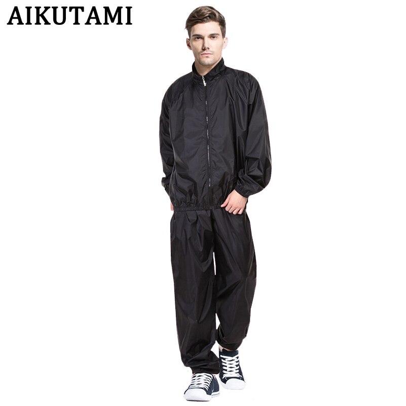 Solid Black Sauna Suit Sauna Suits For Weight Loss Mma Rashguard Top+Pants Boxing Pugilism Muay Thai Training Sport Clothing Set