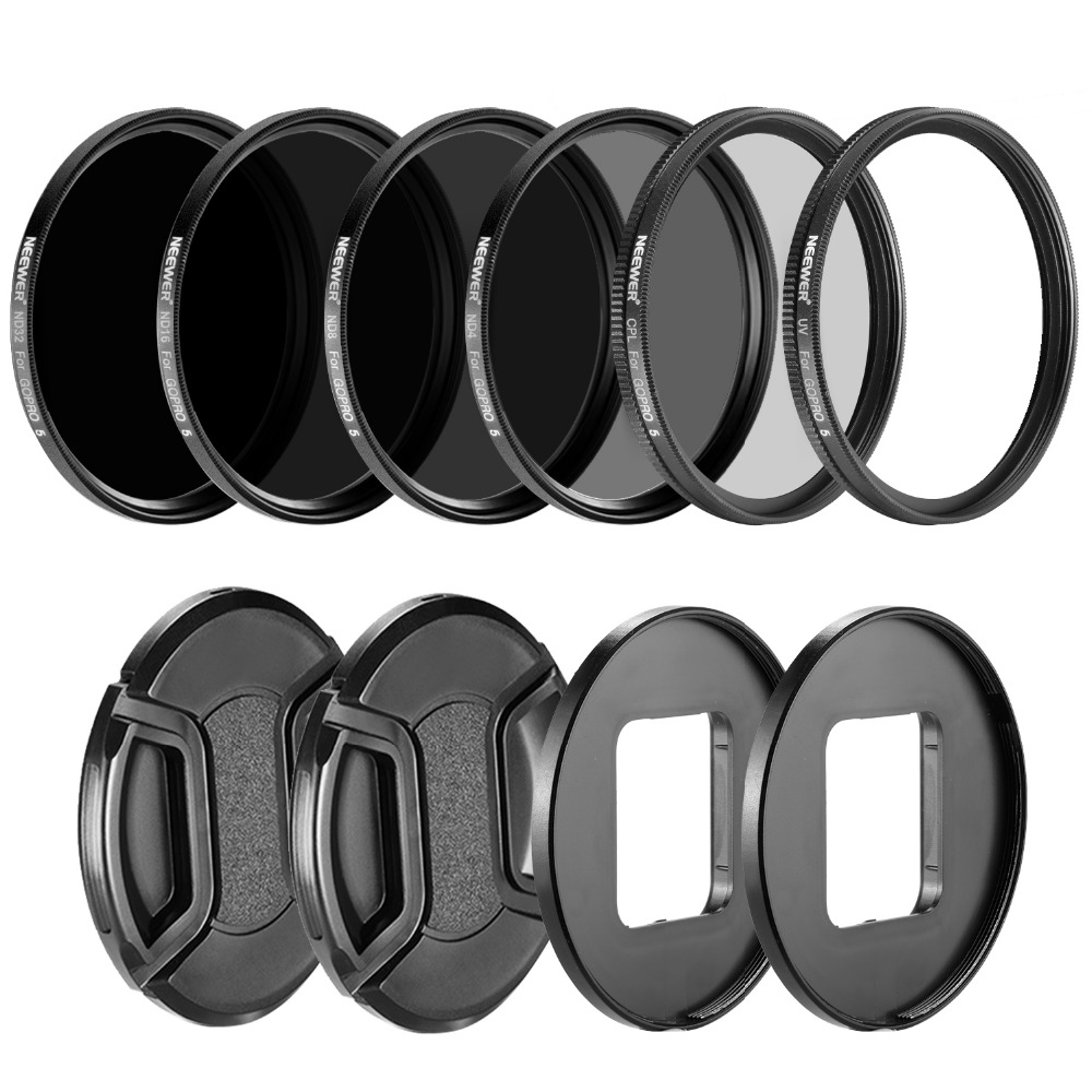 Neewer Camera Lens Filter Kit for GoPro Hero: Neutral Density ND Filte ND4 ND8 ND16 ND32 UV Filter CPL Filter Lens Cap купить в Москве 2019