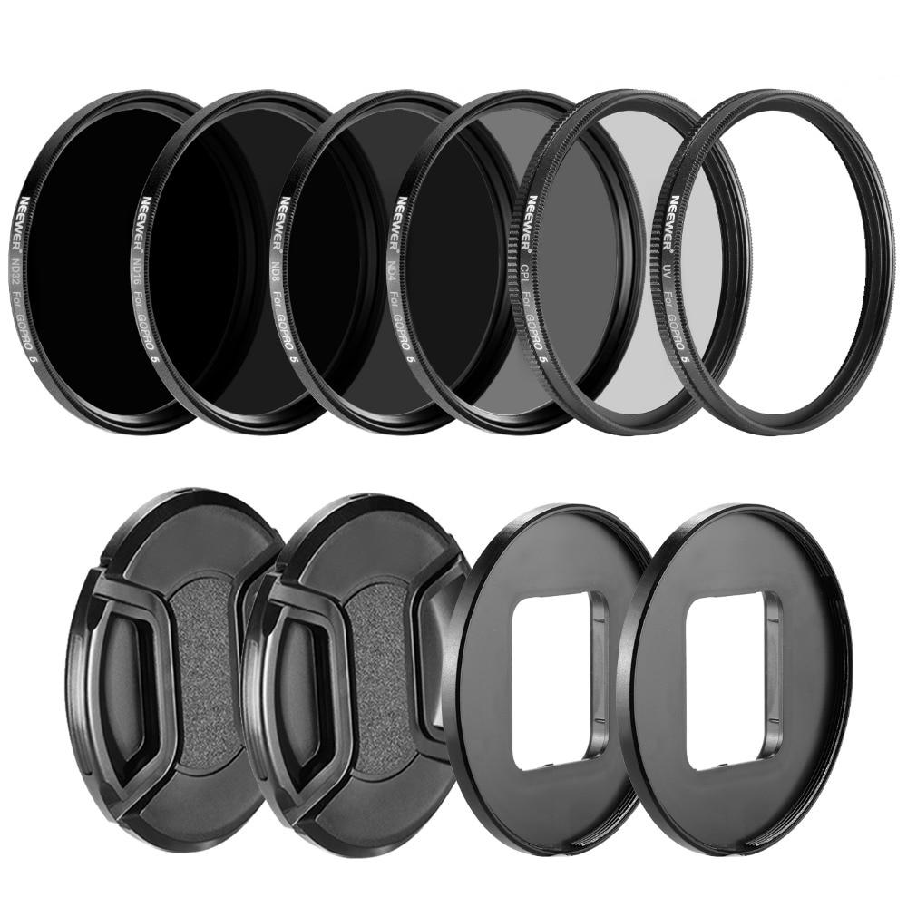 Neewer Camera Lens Filter Kit for GoPro Hero: Neutral Density ND Filte ND4 ND8 ND16 ND32 UV Filter CPL Filter Lens Cap цена