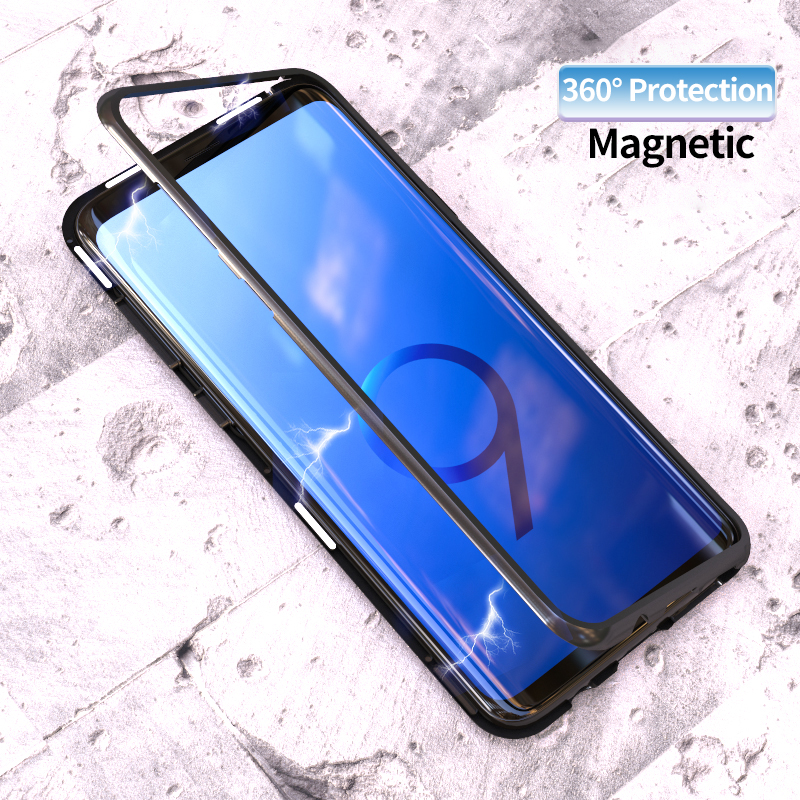 Adsorbimento magnetico di Caso di Vibrazione per Samsung Galaxy S8 S9 Più Temperato Vetro Della Copertura Posteriore di Lusso del Metallo Imbottiture e Paraurti Dura di Caso