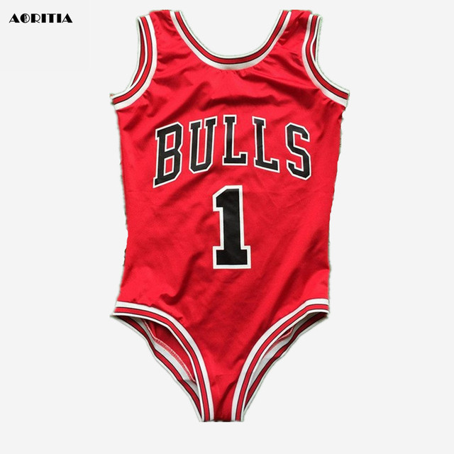 bfe4f7c1f87 2017 Rihanna Bulls Rose Basketball Red Bodysuit Swimwear Swimsuit Jumpsuits  Costume Sexy Swimsuit women rompers