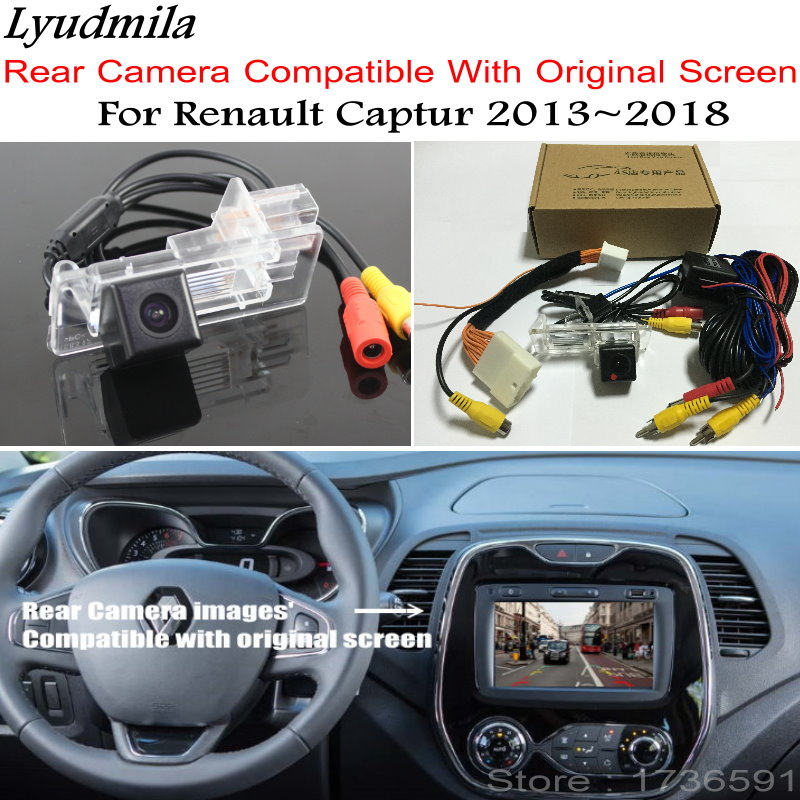 Lyudmila Car Reverse Camera With 24Pin Adapter Cable For Renault Captur 2013 2018 Original Screen Compatible