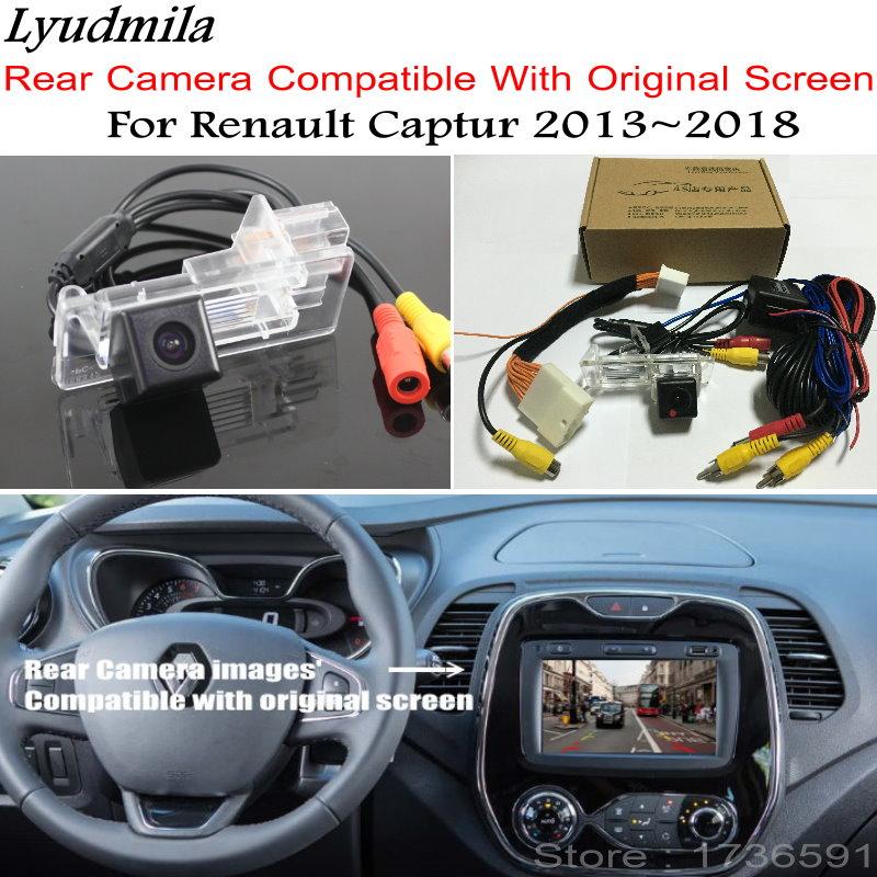 Lyudmila Inverse De Voiture Caméra Avec 24Pin Adaptateur Câble Pour Renault Captur 2013 ~ 2018 Écran D'origine Compatible Arrière Vue Caméra